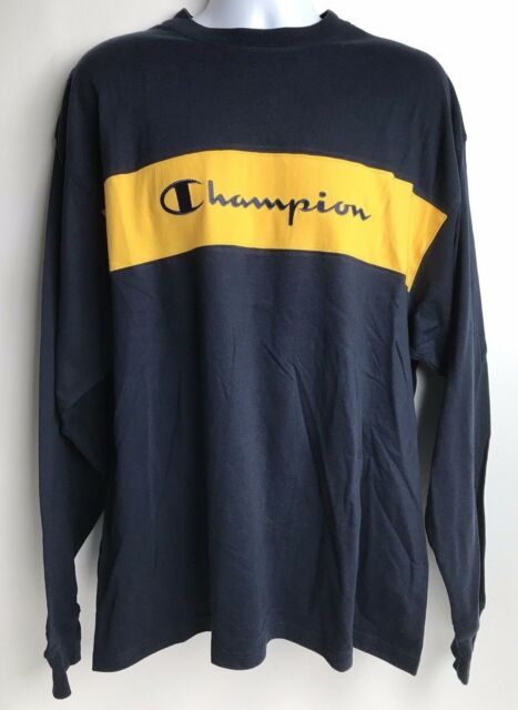 1ff5013e Champion Shirt Long Sleeve Men's XL New With Tags NWT Spellout Navy Blue  Yellow