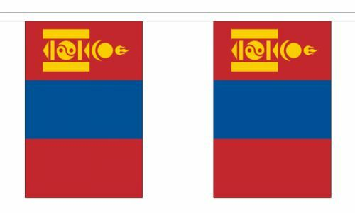 "Mongolia Bunting 9M Metre Length With 30 Flags 9/""X6/"" 100/% Woven Polyester"