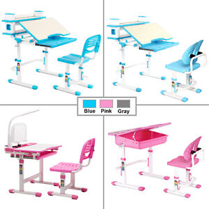 Details About Height Adjustable Children Desk And Chair Set Student Study  Table School Desk