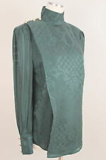 Balmain H&M Silk Blouse Green Shoulder Pads Gold Buttons Jacquard New NWT Sz. 10