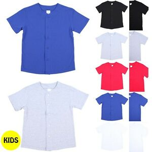 low priced 7ec3c a4a38 Details about Kid's Short Sleeve Solid Button Down Baseball Jersey Top  Casual Cotton XXS-XL
