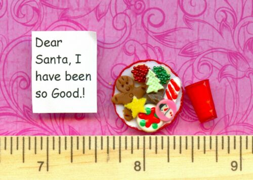 and a Note  for Santa Claus  # 30 Milk New Dollhouse Miniature Cookies