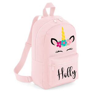 Image is loading Personalised-Kids-Backpack-Any-Name-Unicorn-Girls-Back- 4770ad51378c8