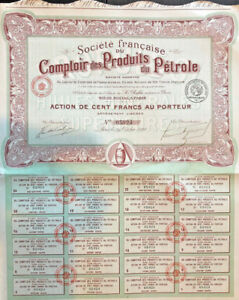 French-bond-certificate-gt-Comptoir-des-Produits-du-Petrole-gt-1920-Paris-France