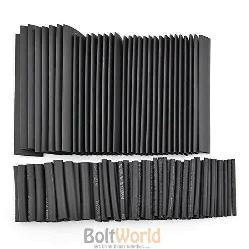 150 x 2:1 BLACK HEAT SHRINK TUBE SET RUBBER TUBING WIRE JOINTS WRAP ELECTRICAL