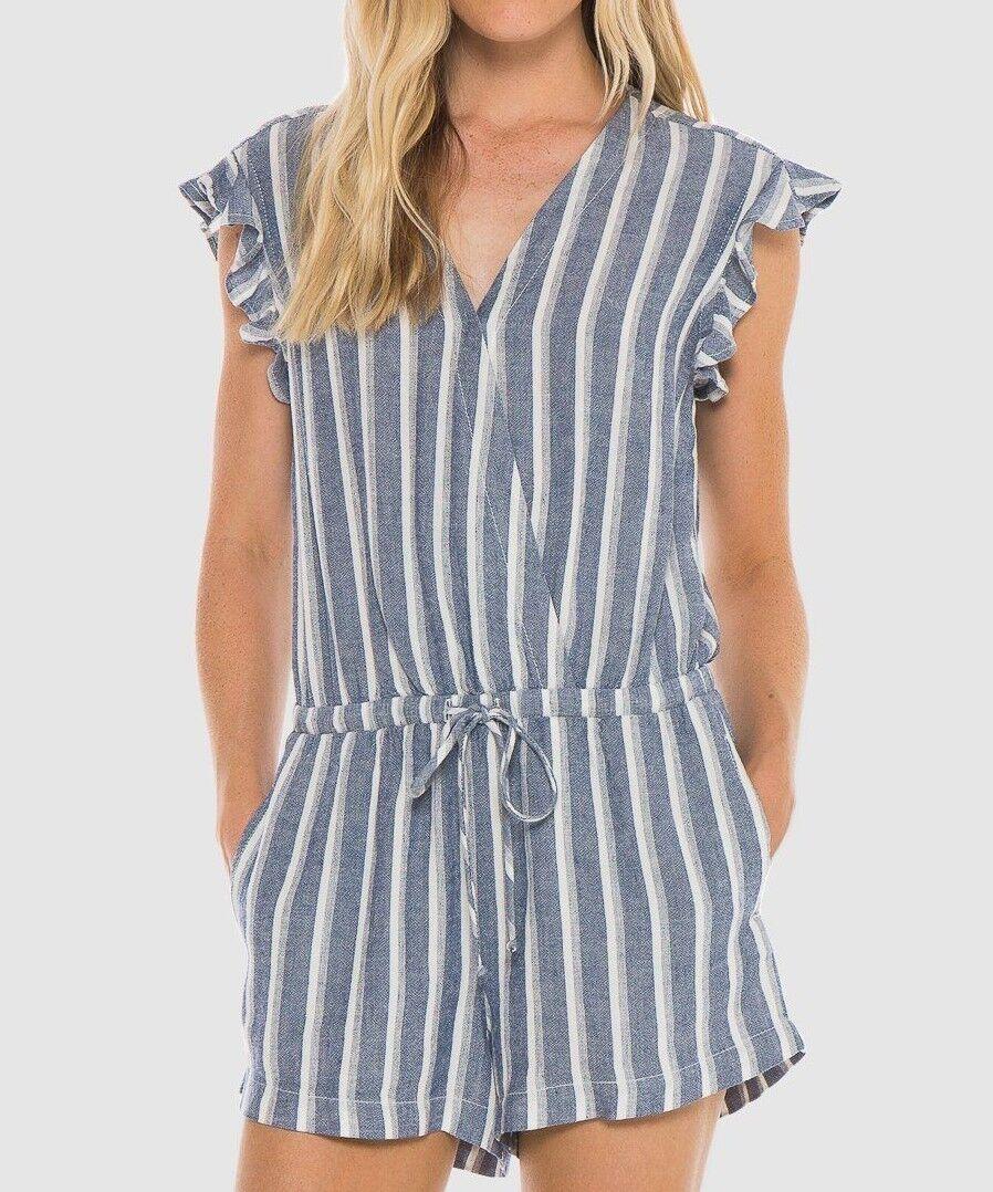 NEW CLOTH & STONE SzL RUFFLE SLEEVELESS CredVER ROMPER ZUMA BEACH STRIPE
