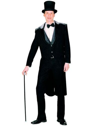 Adulte pour homme NOIR HABIT QUEUE-DE-PIE victorienne Charlie Chaplin gents Circus maître de piste nouvelles