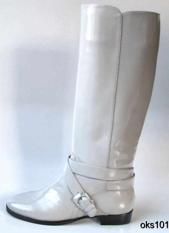Lo último Nuevo Marc Jacobs Piedra gris Cuero Cuero Cuero Equitación Plano botas Altas  online barato