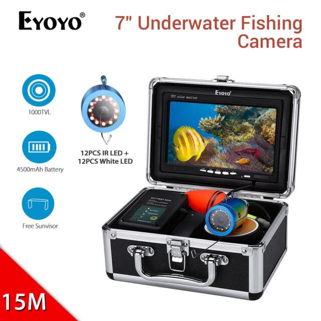 """Eyoyo 7"""" 15M Underwater Fishing Camera 12pcs White 12pcs IR LED IP68 Fish Finder"""