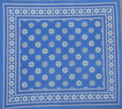 Handmade 100% Cotton Sunflower Spiral Tablecloth Tapestry Bedspread Blues 60x88