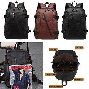 Men S Vintage Backpack School Bag Travel Satchel Pu Leather Laptop