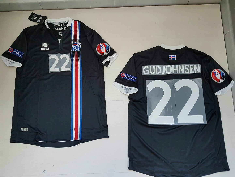 GUDJOHNSEN ISLANDA ICELAND Ísland  MAGLIETTA JERSEY SHIRT EURO 2016 PATCH B