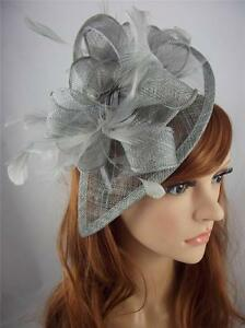 Image is loading Silver-Grey-Teardrop-Sinamay-amp-Feathers-Hat-Fascinator- 29c7ef37dd3