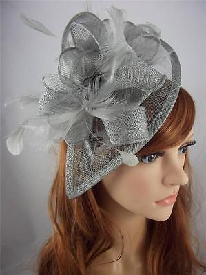 Silver Grey Teardrop Sinamay & Feathers Hat Fascinator  - Occasion Wedding Races