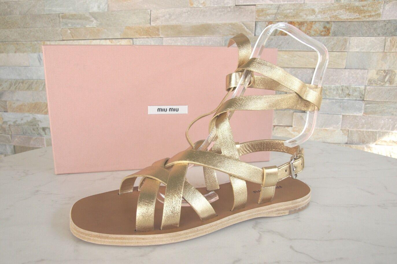 Miu Tg. 36,5 Sandali Riemensandalen shoes pelle di Agnello Platino Nuovo