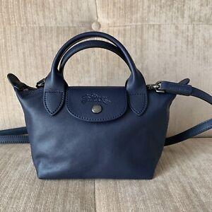 Details about NEW Longchamp Navy Blue MINI Le Pliage Cuir Lambskin Top  Handle Crossbody Bag