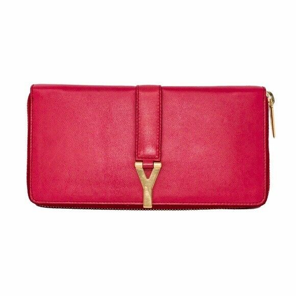 Auth YSL Classic Y Ligney Zip-Around Wallet Red Calfskin Leather Clutch