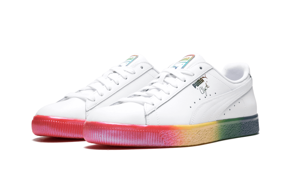 New Mens Puma Clyde Pride Lace Up Athletic Shoe Style 365742-01 White W149 pr