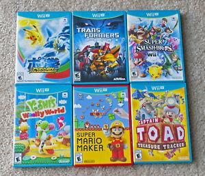 Nintendo-Wii-U-Six-CIB-games-Mario-Maker-Pokken-Smash-Bros-Yoshi-More