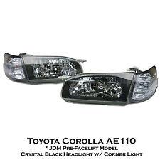 Crystal Black Headlight Lamp+Corner For JDM Spec Toyota Corolla E110 AE110 97-98
