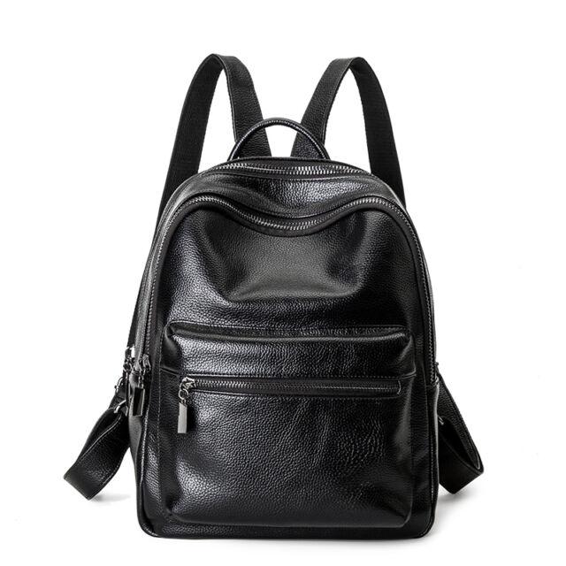 Women s Genuine Leather Black Backpack Satchel Rucksack Shoulder School Bag ce4c0c1f7
