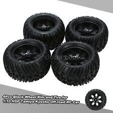 Genuine 4Pcs Black Wheel Rim + Tire for 1/10 HSP 94111 94188 Monster Truck M3R2