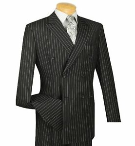 New Vinci Men/'s Navy Blue Pinstripe Double Breasted 6 Button Classic Fit Suit