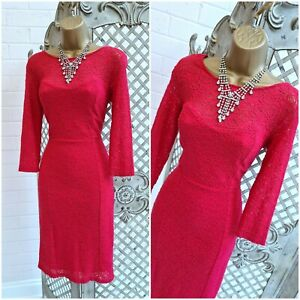 M&CO  UK 10 BNWT £49 Raspberry Pink Lace Wiggle Pencil Dress