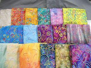 UNIQUE-Embroidered-jewel-tone-Batik-fabric-100-cotton-1-2-yd-long-x-44-034-wide