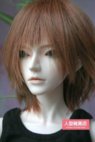 BJD Doll 1//3 9-10 Wig short Layered hair High Temperature Fiber Bangs Boy Brown