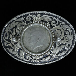 Kennedy Half Dollar JFK Coin Cowboy Cowgirl Western Gift Vintage Belt Buckle