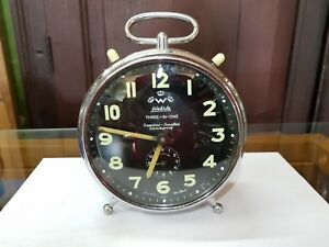 Clocks Vintage Wehrle 3 In 1 Sapphire Jewelled Table Clock Working Condition Germany