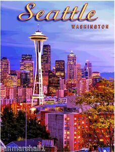 Seattle Washington Space Needle United States Travel Advertisement