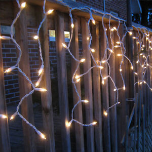 Image is loading WARM-WHITE-LED-ICICLE-LIGHTS-OUTDOOR-CHRISTMAS-XMAS- & WARM WHITE LED ICICLE LIGHTS OUTDOOR CHRISTMAS XMAS LIGHTING SNOWING ...