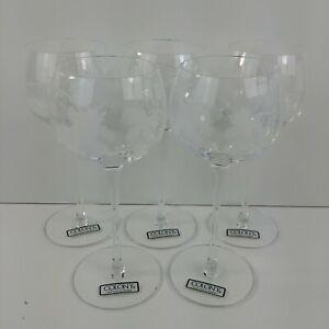 Romania-Colony-Crystal-Glass-Wine-Glasses-Set-of-5-Grapes-Leaf-Vine-Stem