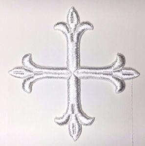 Vintage-Frances-Cruz-Fleury-Bordado-para-Coser-Blanco-6-034-Emblema-Parche-2PC