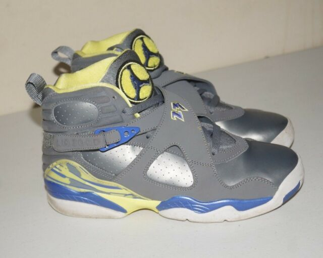 3e91fe47f52 Air Jordan 8 Retro GS Laney Cool Grey Electric Yellow Size 7Y 2014' 580528  038