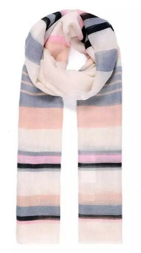 Pretty Stripe Print Pashmina Scarf Wrap Cream Black Grey  SS17 90 x 180 cm