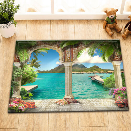 Arabian Arch Flowers Plants Sea Views Bath Fabric Shower Curtain Liner 60X72/""