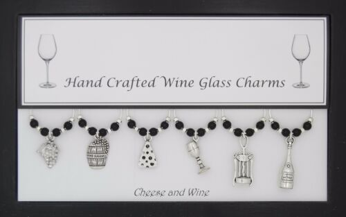 Queso y vino juego de 6 copa de vino encantos hecho a mano para ti