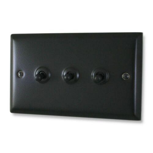 Spectrum Matt Black Toggle Switch 3 Gang SFB283