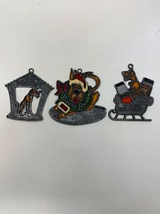 VINTAGE MARMADUKE stained Glass Christmas Ornaments!! Lot ...