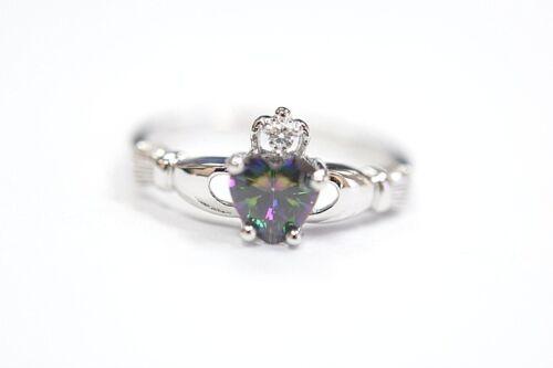 NEW Sterling Silver Claddagh Friendship Ring w// Mystic Rainbow Heart CZ Size 5-9