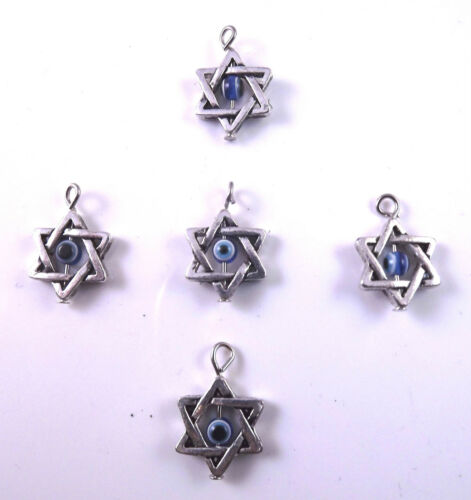 5 X la fabricación de joyas artesanales Plata Estrella De David Colgante Amuleto Mal De Ojo De 22mm