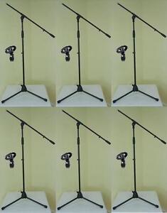 6x-ADAM-HALL-Mikrofon-Staender-ECO-mit-Mikrofonklammer-und-Galgen-Mikrofon-Stativ