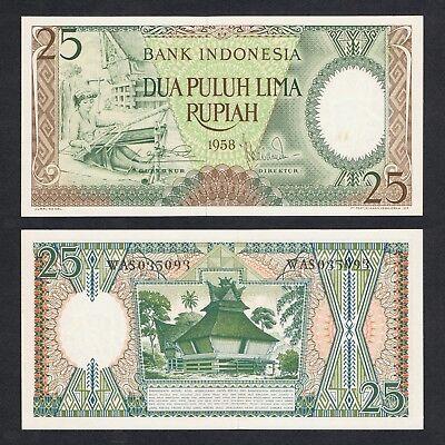 1958 INDONESIA 25 RUPIAH P-57 UNC/> /> /> /> /> /> /> /> /> /> />WEAVER BATAK HOUSE SUMATRA