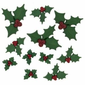 11 HOLLY JOLLY HOLLY /& BERRY//BERRIES NOVELTY CRAFT BUTTONS CHRISTMAS