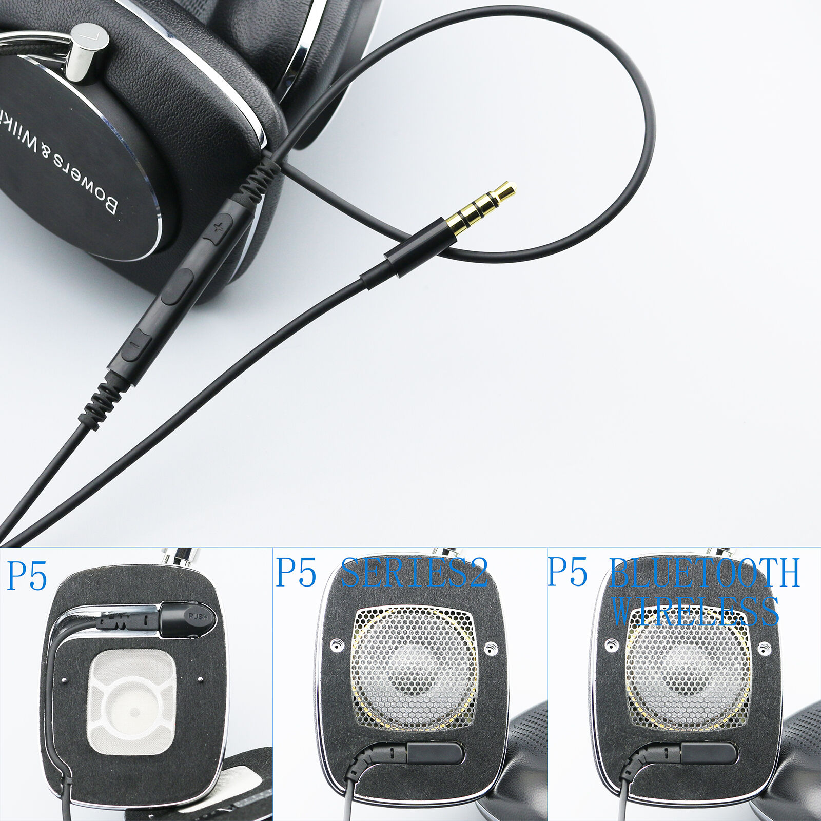 110cm Cable with Remote /& Mic for iphone to B/&W Bowers /& Wilkins P5 P7 headphone