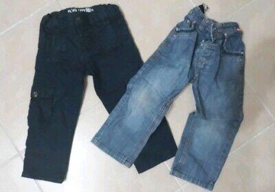 Franco Lotto Stock Abbigliamento Bimbo 2 Pantaloni Jeans 18/24 Mesi Beneficiale Per Lo Sperma