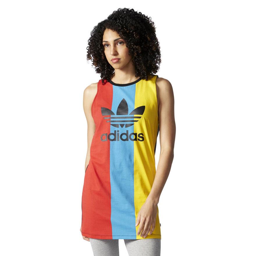 Adidas Originals Trefoil Dress Tank Women Shirt 100% Cotton